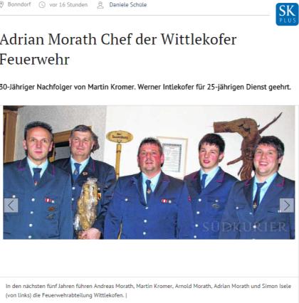 Bonndorf Adrian Morath Chef der Wittlekofer Feuerwehr SÜDKURIER Online
