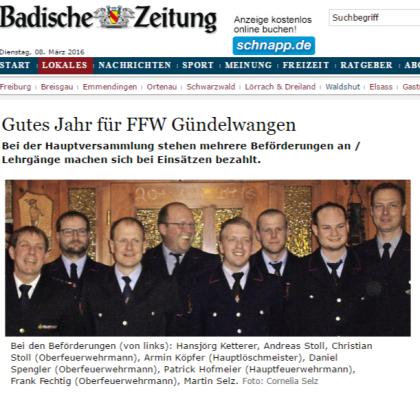 Bonndorf Gutes Jahr für FFW Gündelwangen - badische-zeitung.de
