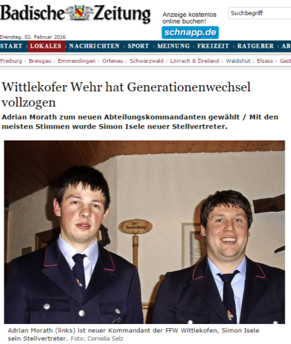Bonndorf Wittlekofer Wehr hat Generationenwechsel vollzogen - badische-zeitung.de