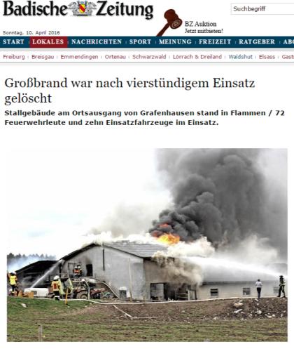 Grafenhausen Großbrand war nach vierstündigem Einsatz gelöscht - badische-zeitung.de