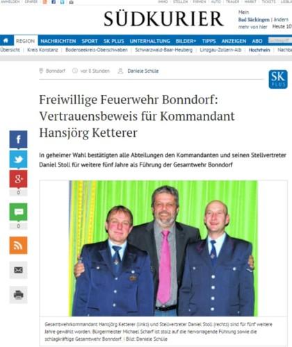 Bonndorf Freiwillige Feuerwehr Bonndorf Vertrauensbeweis für Kommandant Hansjörg Ketterer SÜDKURIER Online